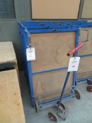Four flat bed work trolleys with one handle