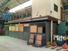 Mezzanine floor with partitioning below NB. A work Method Statement and Risk Assessment must be
