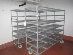 2 x galvanised mobile 5 shelf racks, 2.1m x 620mm x 1.7m