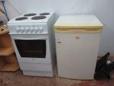 Indesit 4 ring electric cooker, Swan undercounter fridge