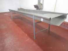 Stainless Steel freestanding blood trough, approx. size 4m x 760mm