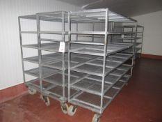 3 x galvanised mobile 5 shelf racks, 2.1m x 620mm x 1.7m