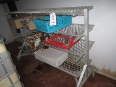 2 x Galvanised mobile 4 shelf racks, length 1.9m