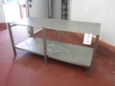 Stainless Steel framed worktable with mesh work top and undershelf, 1760mm x 760mm