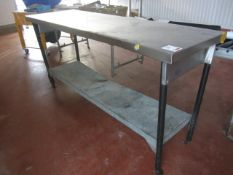 2 x assorted stainless preparation work tables, 1200mm x 600mmm / 1600mm x 800mm