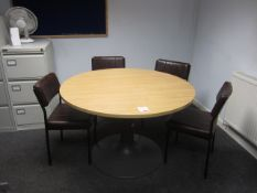 Wood effect circular meeting table with four vinyl meeting chairs