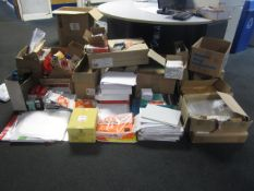 Quantity of assorted office consumables, including pens, highlighter pens, ring binder mechanisms,