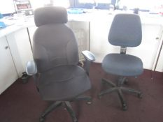 Two upholstered swivel chairs, two vinyl meeting chairs, mobile electric radiator