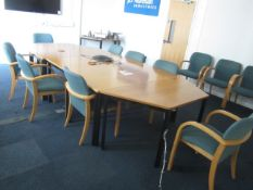 Wood effect 5 section meeting table with 8 upholstered wood effect framed chairs