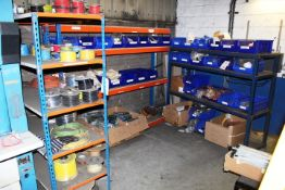 Three assorted bays of stores racking (excludes contents)