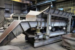 Unbadged vibratory hopper feeder/charger, mounted on RSJ support structure, approx 4.0 x 1.4 x 0.