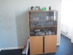 Contents of room including four assorted chairs, two single folding tables, wood effect 2 door