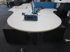 Two grey melamine corner workstations, one semi circle end section, two under desk pedestal, two