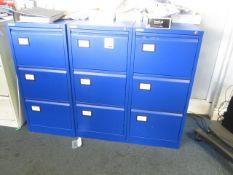 Three metal 3 door filing cabinets