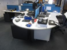 Two grey melamine corner workstations, one semi circle end section, one table with under desk