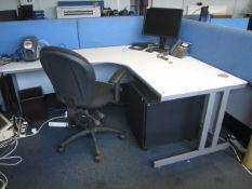 Grey melamine corner workstation, table, under desk pedestal, upholstered chair