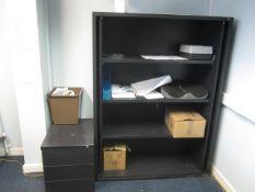 Open fronted 4 shelf storage unit, 3 drawer underdesk pedestal, upholstered meeting chair,