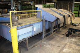 Powered flat belt conveyor, approx 0.9m x 6m, with off shutes (Should you wish a quotation for lift