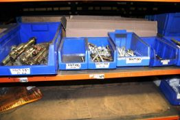 Approx 40 blue plastic picking bins & contents to include assorted bolts, rivets, keys, nozzles,