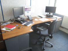 Dark wood effect corner workstation table, 2 door under desk storage unit, 2 drawer pedestal unit,