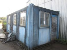 Jackleg anti vandal site office with six windows, single door, approx. size 6 x 2.5m