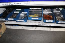 Shelf of assorted stock contents to include Tibo springs, Mollart bushes, Tibo bushes, Tibo canes,