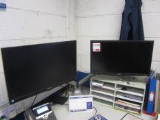 Three assorted flat screen monitors, keyboard