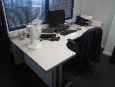 Grey melamine corner workstation with extension, 3 drawer undercounter pedestal, upholstered