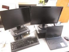 Dell Latitude E7450 Core i5 laptop, Dell docking station, two flat screen monitors, keyboard, mouse