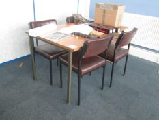 Wood effect table with four vinyl meeting chairs, Supacool pedestal fan