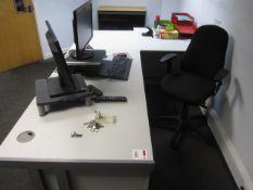 Grey melamine L shape, 3 section workstation, with built in pedestal, upholstered swivel chair