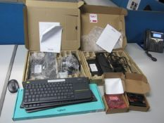 Two Dell docking stations, four assorted keyboards, two Wasp Magstripe readers