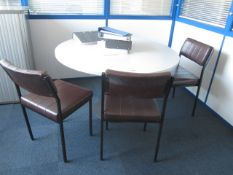 Grey melamine circular meeting table with four vinyl meeting chairs