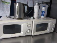 Ice King undercounter fridge, two Daewoo microwaves, kettle