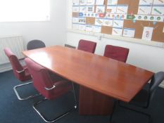 Loose contents of room including rectangular wood effect meeting table, 2.4m x 1.2m, six assorted