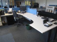 Two grey melamine corner workstation, one table, under desk pedestal, upholstered chair