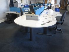 Two grey melamine corner workstations, one table, one semi circle end section, under desk