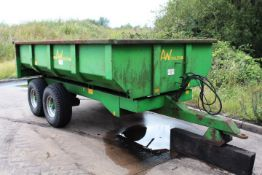 AW Trailers single axle 4 wheel draw bar tipping trailer, model 7T S&R, serial no. 3951 (2005), tyre