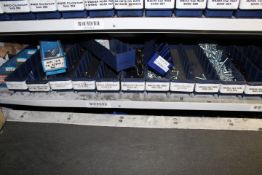 Shelf of stock to include head bolts, countersunk sockets, head bolts, cap heads, grub screws,