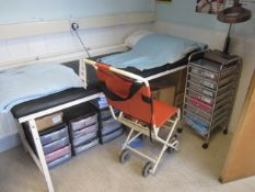 Ferno collapsible patient chair, First Aid bed, multi drawer mobile storage unit, magnifier