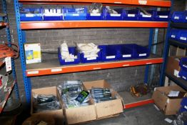 Three shelves of assorted PPE to include three boxes of Show A gloves, 5 bays of UCI gloves, UVEX
