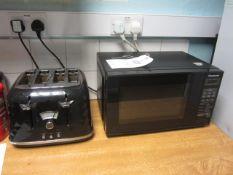 Two Panasonic microwaves, 4 slice toaster, kettle