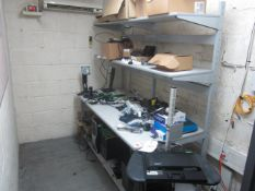 Metal frame two shelf workbench with contents of assorted laptops, spares, mobile stand, monitor