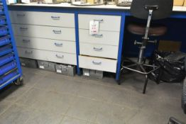 Steel frame workbench, approx 3m in length with 8 drawer storage