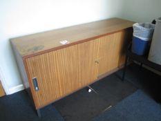 Dark wood effect 2 door storage cupboard, low level storage unit, wood effect table