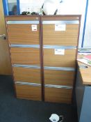Two wood effect 4 drawer filing cabinets