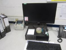 Dell Optiplex 790 computer system, flat screen monitor, keyboard, mouse, Zebra GC420d label printer