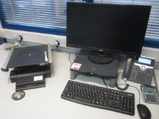 Dell docking station, flat screen monitor, keyboard, mouse