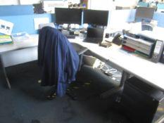 Grey melamine corner workstation, two tables, two under desk pedestals, upholstered chair