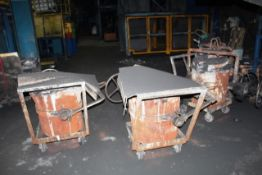 Six mobile fitting molten metal pouring ladles/pots (Should you wish a quotation for lift out of
